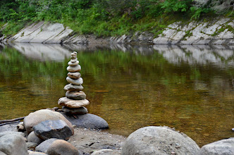 Photo: A cairn on the West River, Jamaica State Park by Linda Carlsen-Sperry.