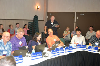 Photo: Reviewing yesterday's workshops - Chapter Chair reports