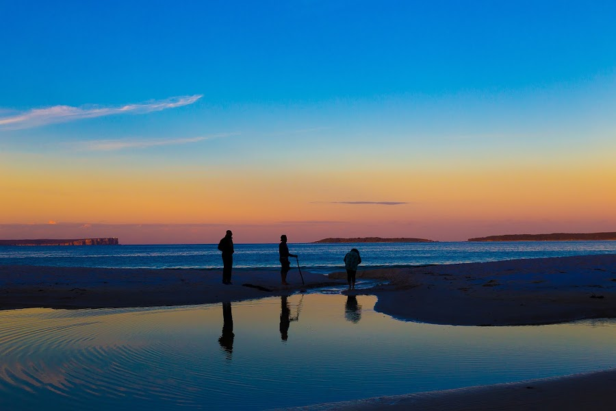 3 Friends at a sunset  by Faisal Enam - Landscapes Beaches ( friends, sunset, reflections, beach,  )