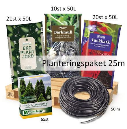 Komplett Planteringspaket - ca 25 meter (inkl Täckbark)