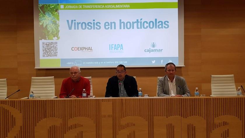 Jan van der Blom (Coexphal), David Meca (Fundación Cajamar) y Dirk Janssen (Ifapa La Mojonera).