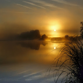 Foggy sunrise over a lake by Milan Horejsi - Landscapes Sunsets & Sunrises ( foggy, dawn, lake, sunrise, landscape )