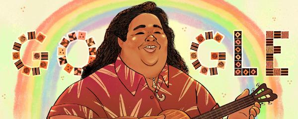 Google Doodle celebra al cantautor y activista hawaiano Israel Kamakawiwoʻole