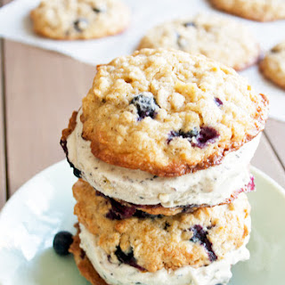 Blueberry Oatmeal Ice Cream Sandwiches with Blueberry Ice Cream
