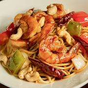 Kung Pao Shrimp Spaghetti