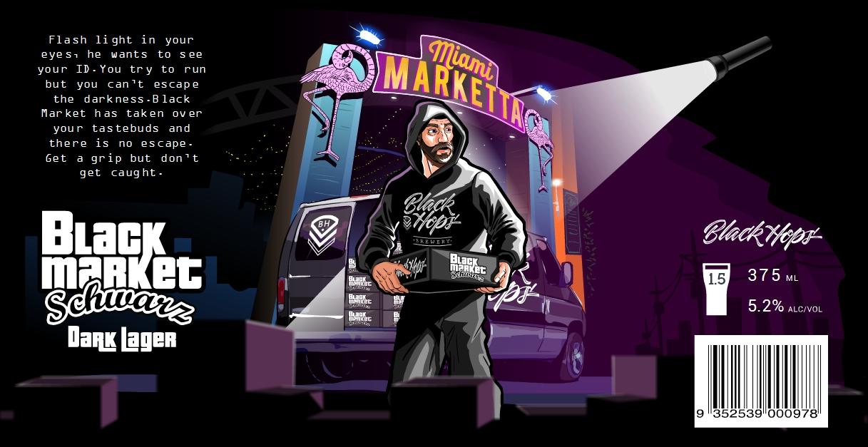 Black Hops Black Market Schwarz design