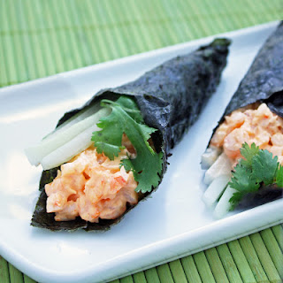 Low Carb Spicy Shrimp Hand Rolls.