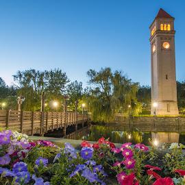 Spokane clock tower  by Casey Bebernes - Buildings & Architecture Statues & Monuments