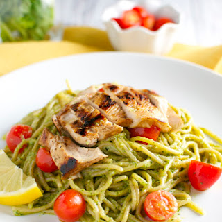 Basil and Goat Cheese Pesto Pasta with Tomatoes and Chicken Recipe