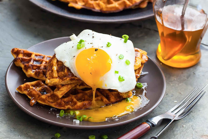 Sweet Potato Waffles with Fried Egg, Bacon, and Scallions Recipe