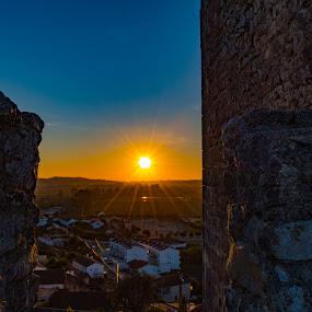 MonteMor o Velho by Edu Marques - Landscapes Sunsets & Sunrises ( sunflower, cityscape, landscape, sunlight, sun, city, city scape, village, city view, sunset, sunsets, sunny, sundown, sunshine, castle, landscapes,  )