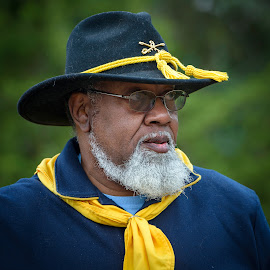 by Judy Rosanno - People Portraits of Men ( soldiers, living history, 19th century, re-enactment, texas, usa, government canyon state natural area, buffalo soldier, calvary,  )