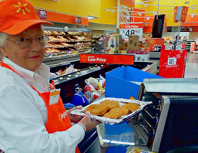 Photo: She was the kindest and sweetest lady, so I stopped to chat for a bit. Plus, the chicken was just coming out of the oven! Yum.