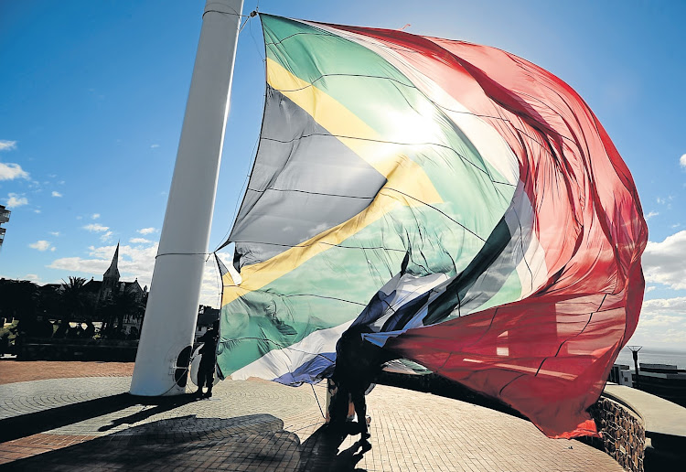 A South African flag on the Donkin Reserve. Picture: THE HERALD/MIKE HOLMES