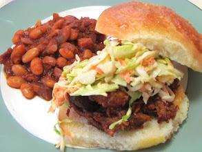 Photo: Pulled Pork Sandwich & Texas Style beans