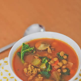 Vegetable Soup with Green Lentils and Italian Sausages.
