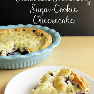 Wild Blueberry and Chocolate Sugar Cookie Cheesecake.