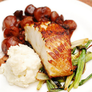 Black Cod With Balsamic Braised Shallots, Mashed Potatoes, And Green Onions.