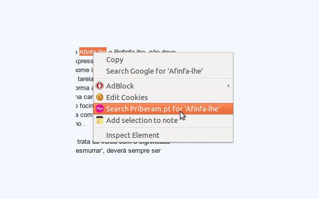 Priberam.pt right click search