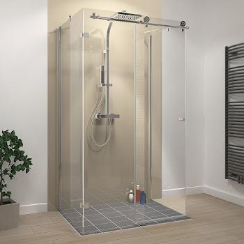 Porte de douche coulissante, 100 à 200 cm, + 2 parois latérales