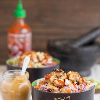 Asian Slaw with Sweet Chilli Peanut Tofu.