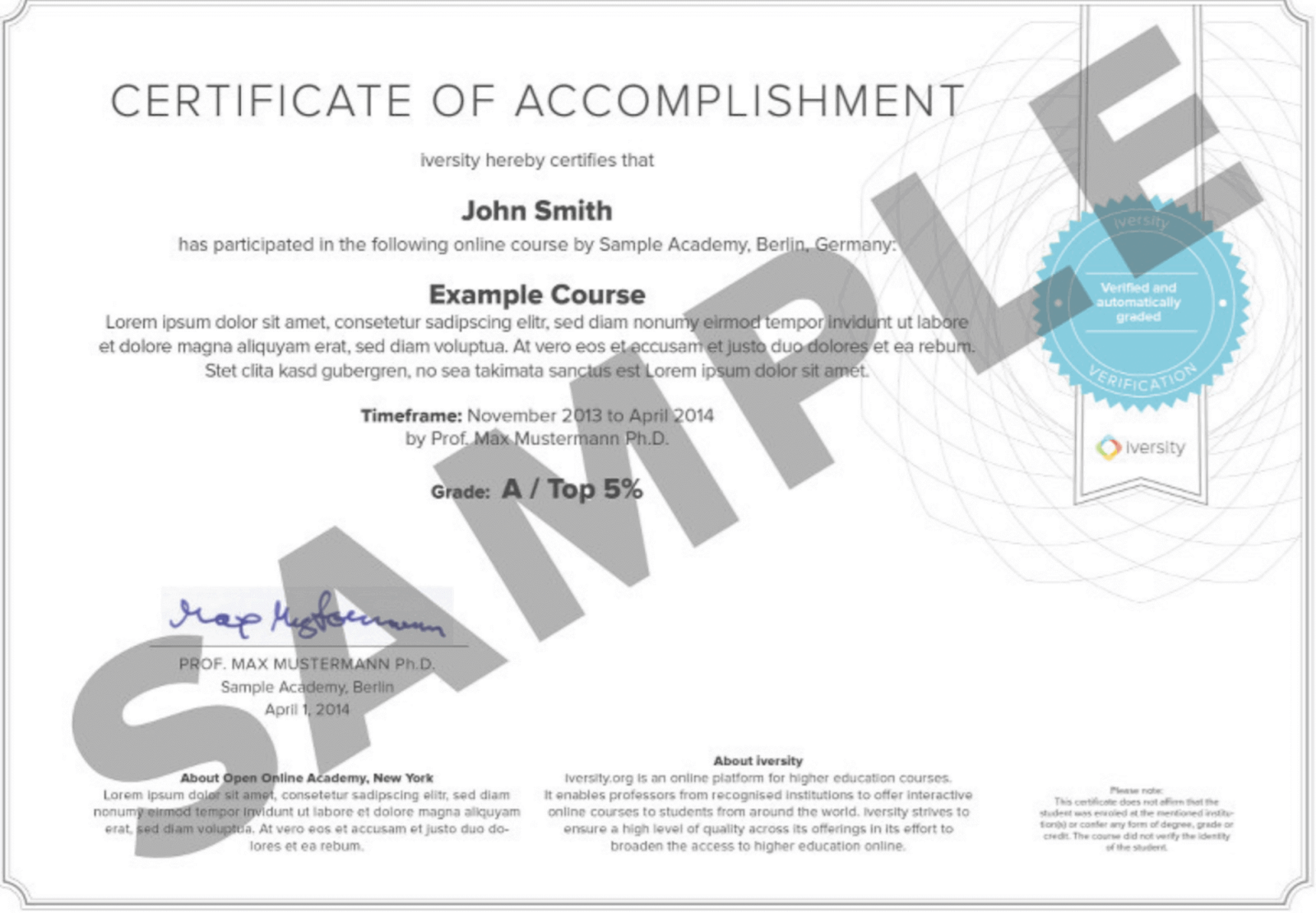 How can I get a certificate on Iversity?