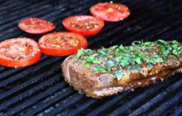 Grilled Steaks And Tomatoe With Basil Garlic Bread Recipe
