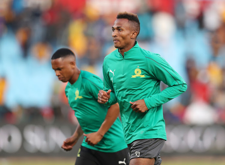 Mamelodi Sundowns players Toni Silva (R) and Andile Jali go through their paces at training August 4 2018.