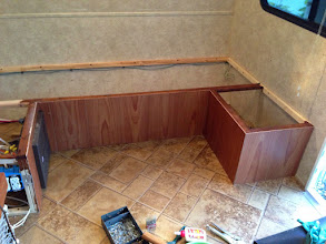 """Photo: Dinette Mod: Minwax """"American Chestnut"""" stain & poly is a fairly close match for coloring unfinished wood."""
