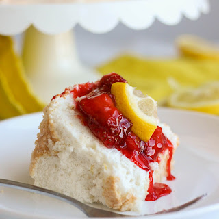 Lemon Angel Food Cake with Strawberry Compote Recipe