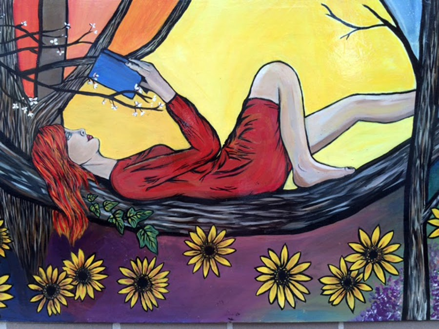 Relax While Reading by Tammy Pressley - Digital Art People ( reading, girl, nature, tree, relaxed, woman, art, flowers, painting,  )