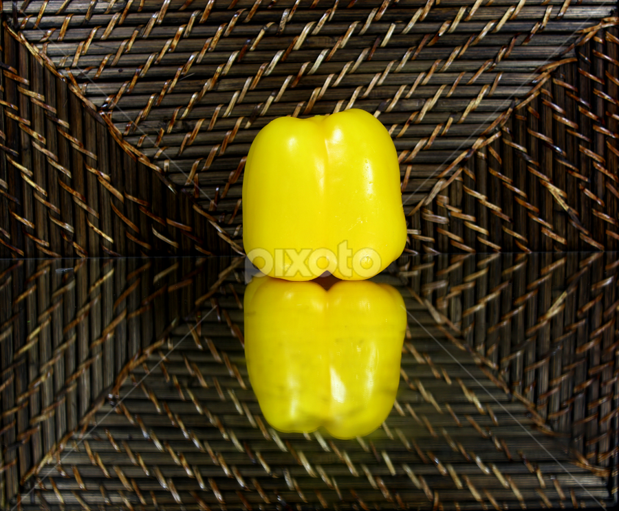 by Dipali S - Food & Drink Ingredients ( reflection, food, vegetable, yellow pepper )