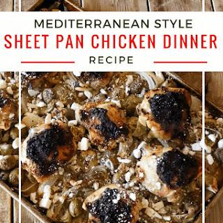 Mediterranean Style Sheet Pan Chicken Dinner.