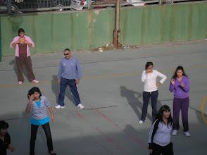 Photo: Al pati. Classe d'Educació Física