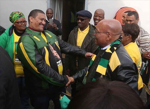 BACK ON TOP: Western Cape chairman of ANC Marius Fransman joins President Jacob Zuma on an election roadshow in Cape Town. It is his first high-profile appearance since he stepped aside following sexual harassment accusation against him PHOTO: ESA ALEXANDER