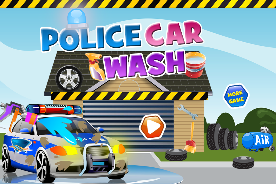 police car wash games screenshot