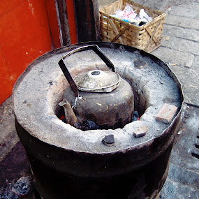 Cuppa Tea?  by Ashley Humphrey - Artistic Objects Other Objects ( teapot, ash, grill, coal, barrel, tea, fire )