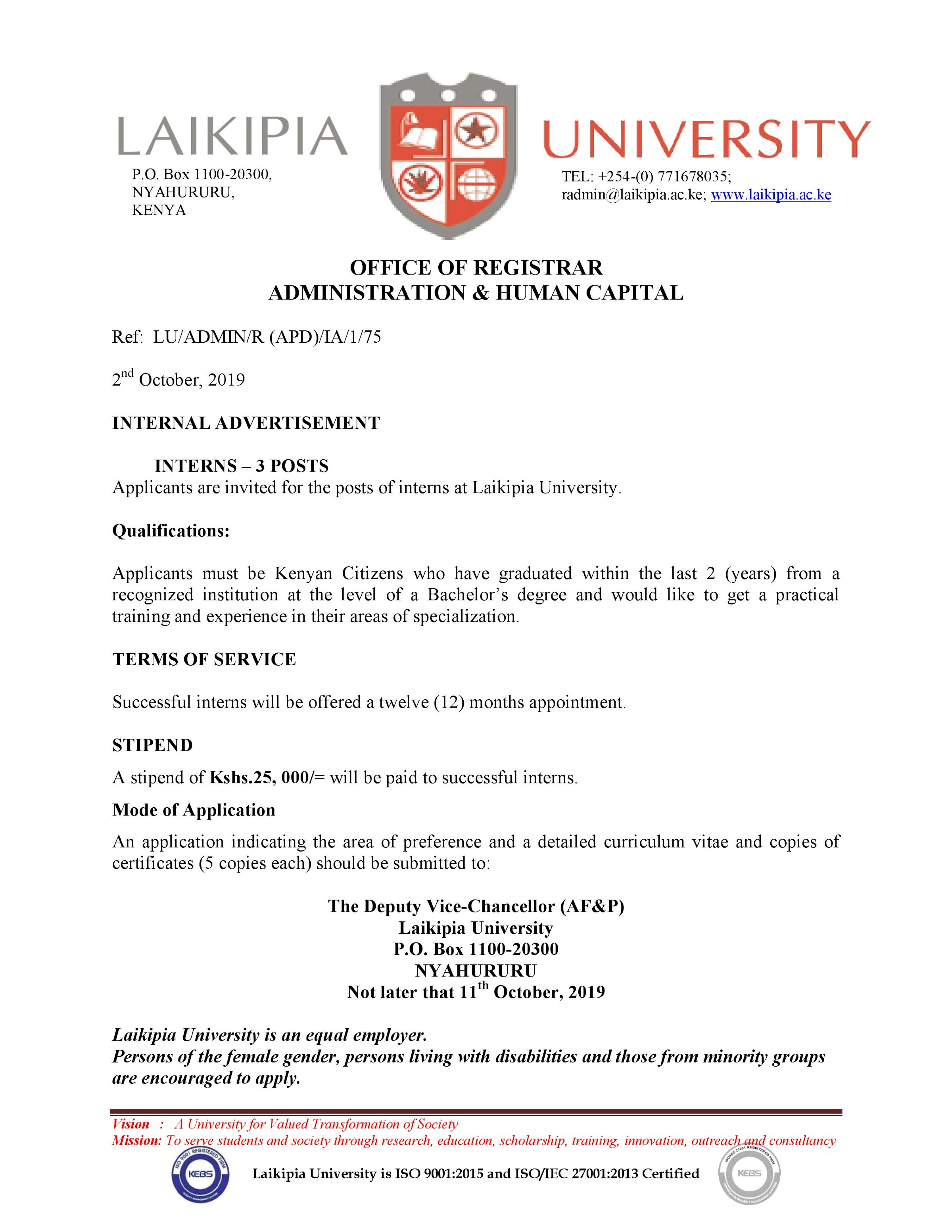 Three internship positions up for grabs at Laikipia University