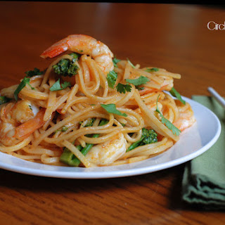 Asian Rice Noodles with Shrimp and Broccolini.
