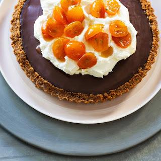 Double Chocolate Tart with Mascarpone Cream and Candied Kumquats