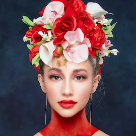 Summer Color by Chuck Mason - People Portraits of Women ( womans portrait, red, studio, flowers, studio portrait, headshot, portrait, floral headpiece )