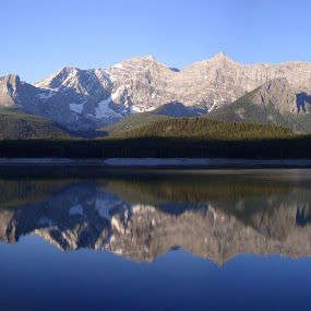 Kananaskis Morning by Ian McAdie - Landscapes Mountains & Hills ( water, reflection, mountain, park, alberta, leisure, lake, morning, landscape, panorama, mirror, camp, sky, nature, ice, kananaskis, snow, hike, panoramic,  )