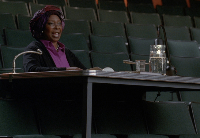 """Photo: GLEE: Carmen (guest star Whoopi Goldberg) watches Rachel's NYADA auditions in the """"Choke"""" episode of GLEE airing Tuesday, May 1 (8:00-9:00 PM ET/PT) on FOX. ©2012 Fox Broadcasting Co. Cr: FOX"""