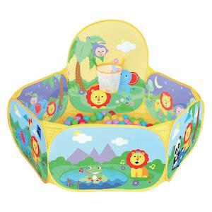 Spatiu de joaca cu bile multicolore, pentru bebelusi