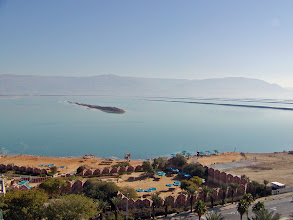 Photo: A view from our hotel room of the lower basin of the Dead Sea at Ein Bokek.  Jordan is on the other side of the Sea.