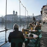 Reuss River patios in Lucerne, Lucerne, Switzerland
