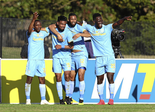 Way to win: Keanu Cupido, second left, is congratulated by teammates after scoring Cape Town City's winner against Maritzburg United on Sunday. Picture: ANESH DEBIKY/GALLO IMAGES