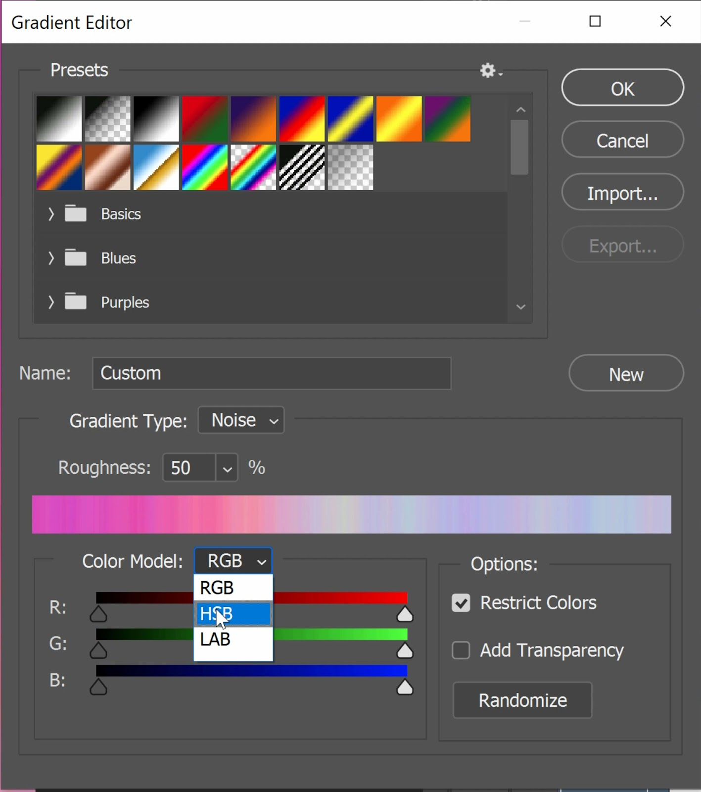 Change the Color Model to HSB and use the H, S, and B sliders to control the color of the noise.