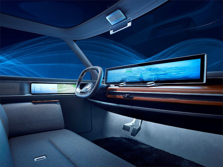 The concept car had a very minimalist interior dominated by giant screens on the dashboard and doors. Picture: SUPPLIED