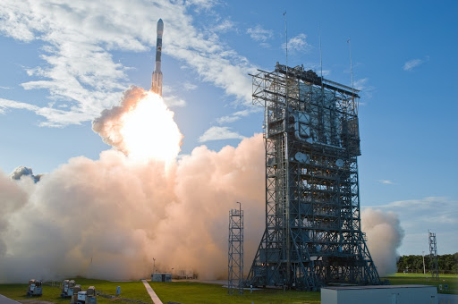The United Launch Alliance Delta II rocket spacecraft leaps into the sky from Launch Pad 17-B at Cape Canaveral Air Force Station.